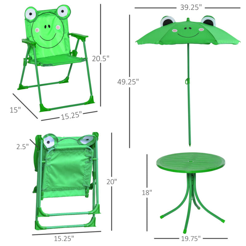 Cute Frog-Themed Kids Picnic Table and Chair Set Dimensions