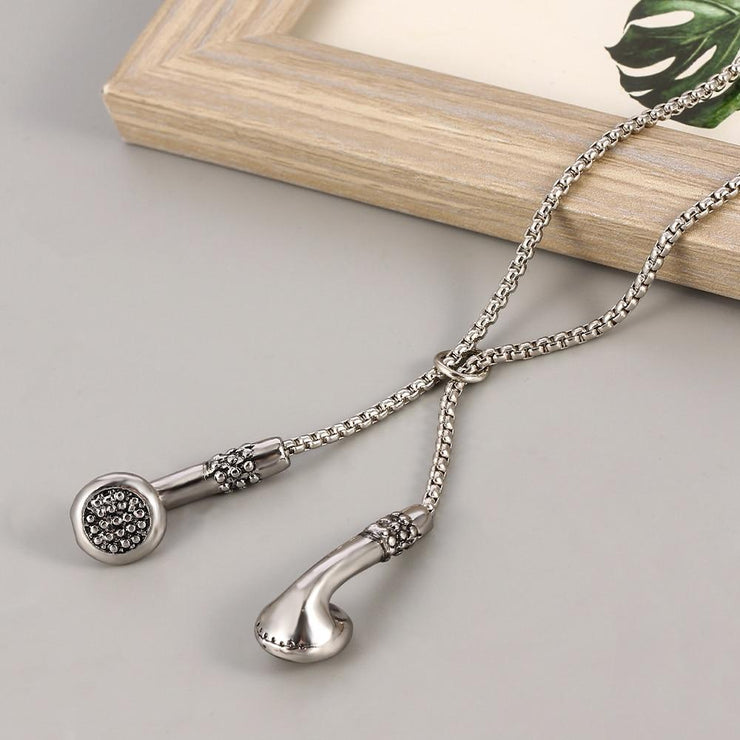 The Musician - Chained Headphone Necklace Accessory, Audio