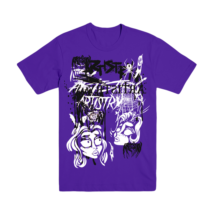 Horror Mash Up Tee Purple