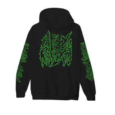 Metal Logo Green on Black Hoodie