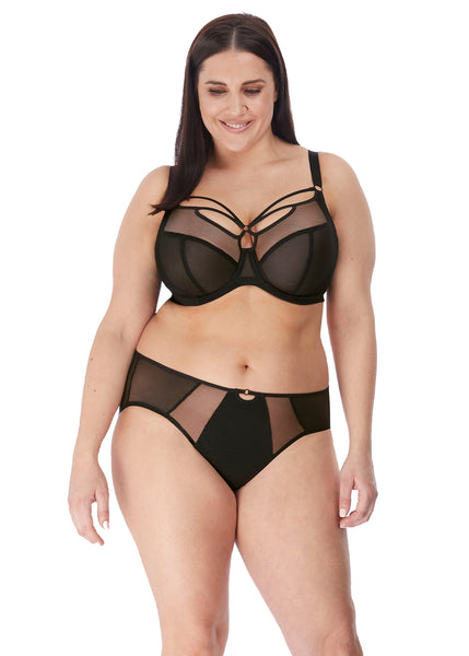 Elomi Slip Sachi schwarz glatt transparent mit Cut Out