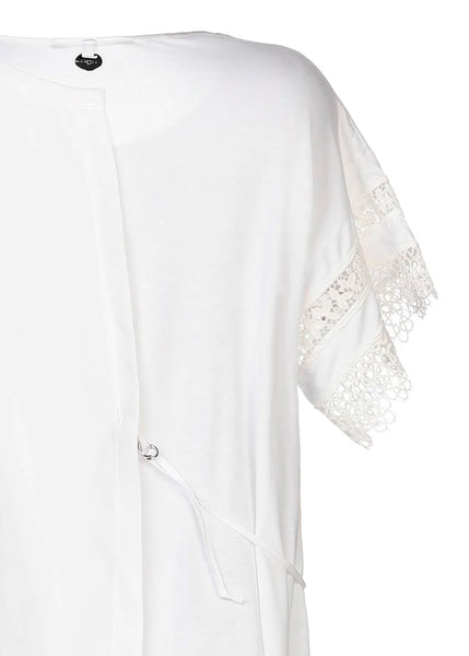 HIGH asymmetrisches T-Shirt PATIENCE in champagner mit Spitzendetails