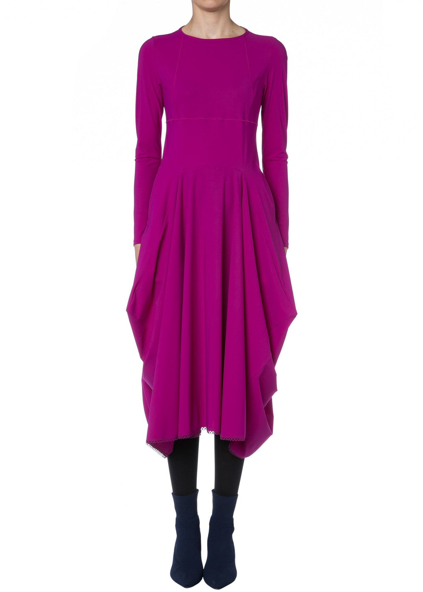High Stretchkleid EXCLAIM in Magenta mit 3/4-Ärmeln, wadenlang