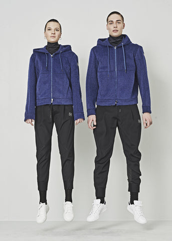 High Unisex-Fleecejacke COLLECTIVE in blau mit Oversize-Kapuze
