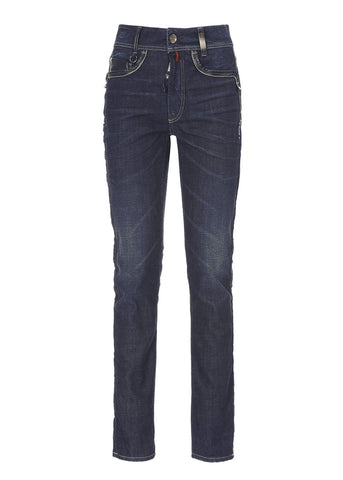 High Jeans ASBY in dunkelblau mit Lederdetails slimfit