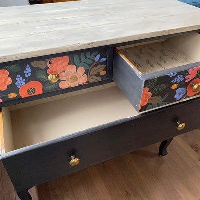 Deep navy dresser with Rifle Paper découpage