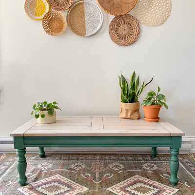 Shades of green coffee table