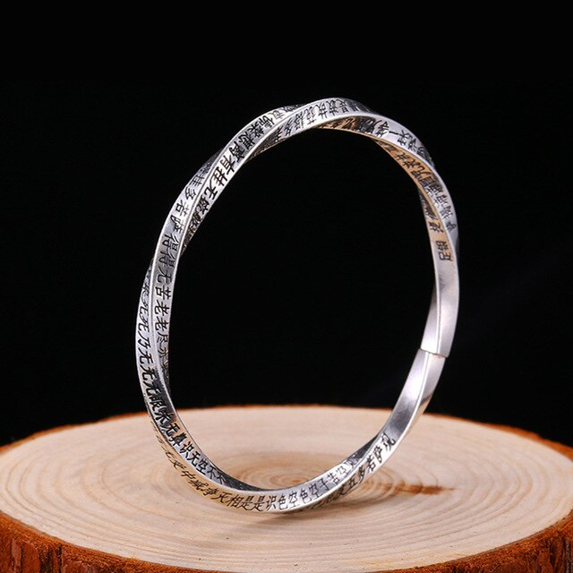 Solid Sterling Silver Buddhist Bangle