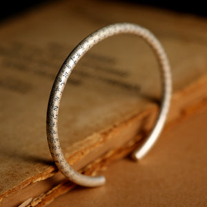 925 Sterling Silver Retro Open Cuff Bangle