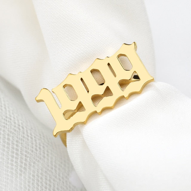 Custom Old English Year Number Ring