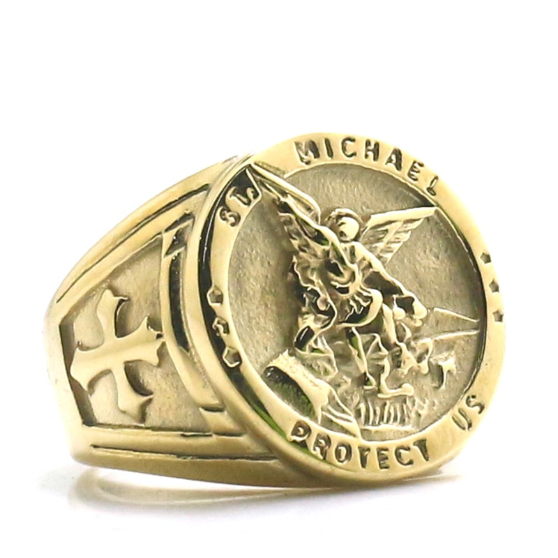 Saint Michael Protect US 316L Stainless Steel Gold Ring