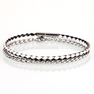 Stainless Steel & leather Bracelet