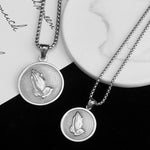 Praying Hands Round Pendant & Necklace