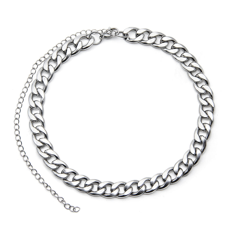 stainless steel Cuban chain necklace