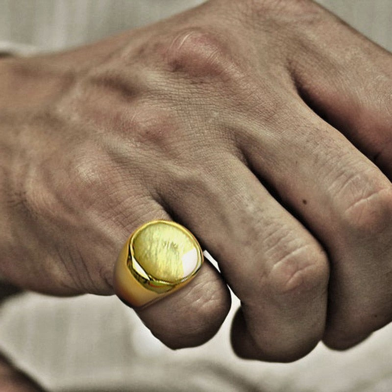 ROUND STAINLESS STEE SIGNET RING