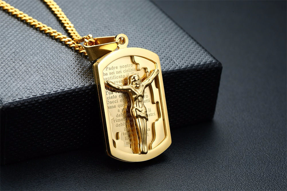 ITALIAN JESUS DOG TAG PENDANT & NECKLACE