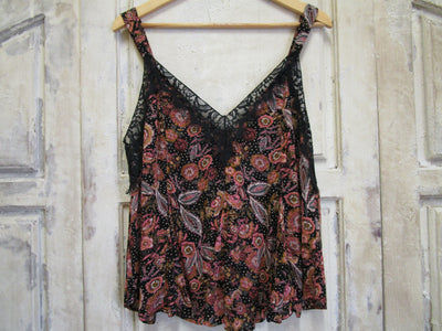 Tank w/ Floral Print and Lace
