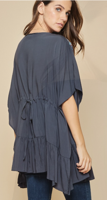 Midnight Blue Ruffle Kaftan
