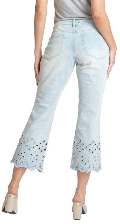Candice Cropped Flare Jean with Eyelet Detail