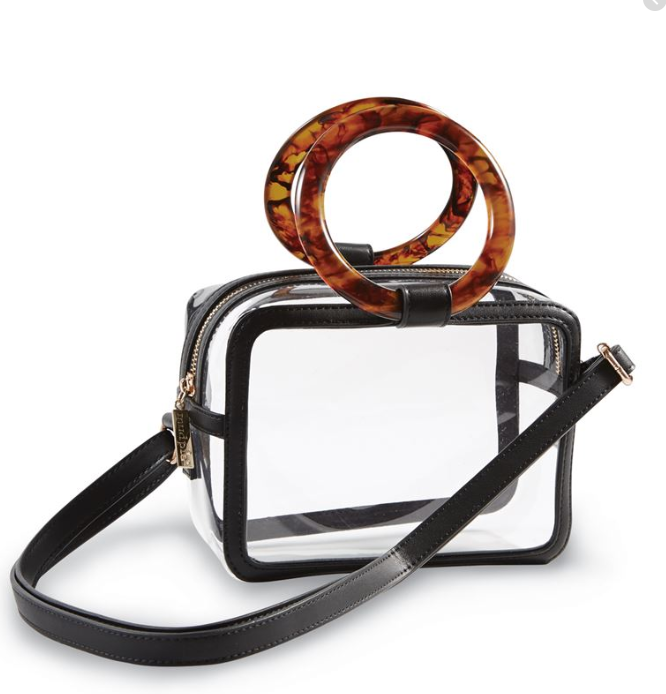 Clear Stadium Crossbody w Tortoise Handle