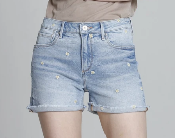 Tiny Daisy Embroidered Shorts