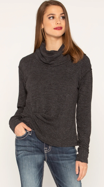 Twist Front Turtleneck