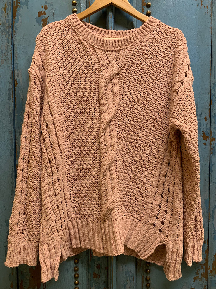 Blush Chenille Cable Knit Sweater