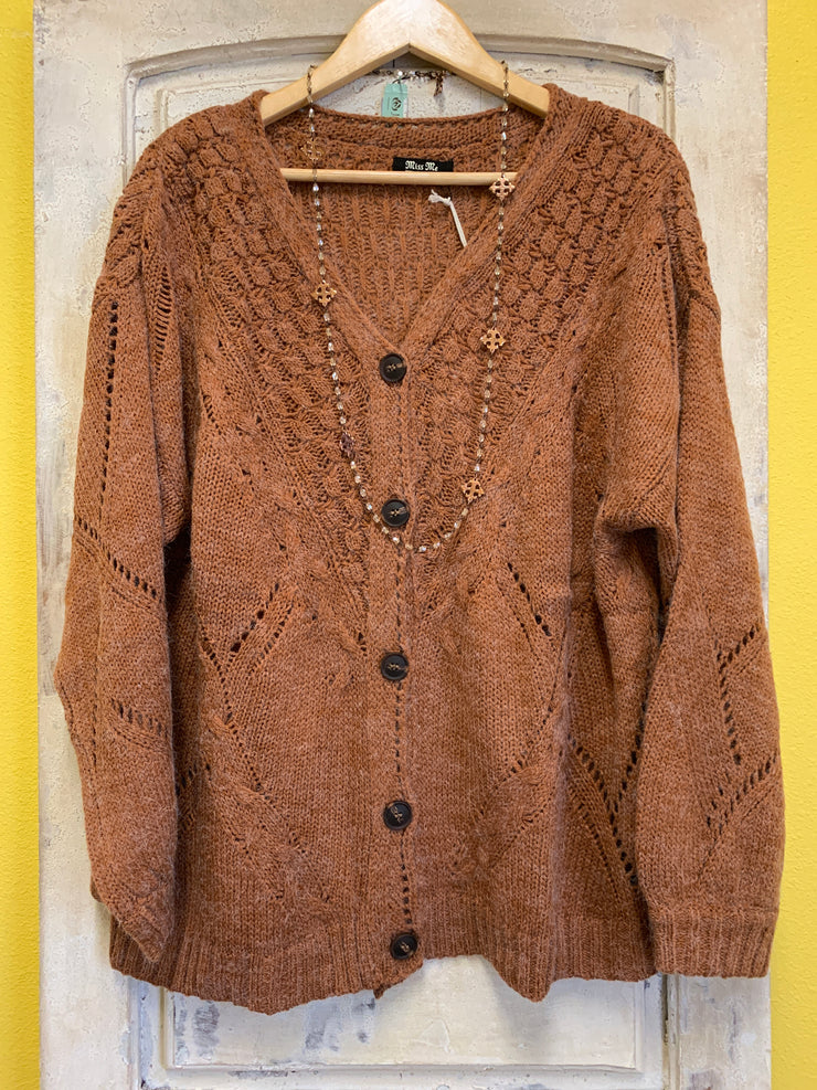 Cozy Ginger Button Front Cardigan
