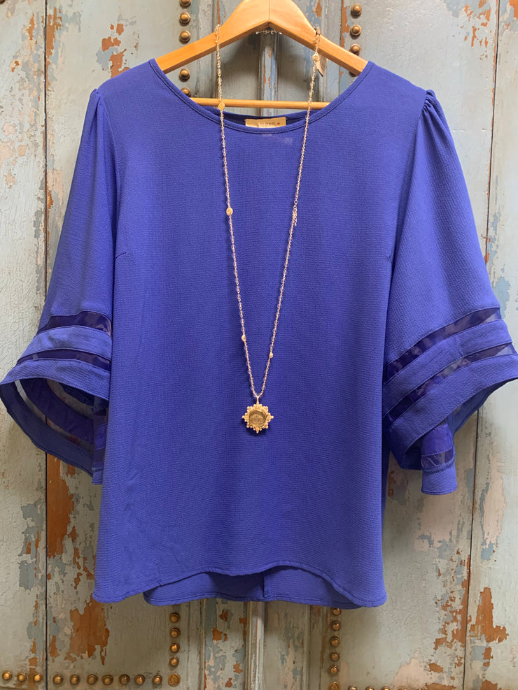 Cobalt Mesh Burnout Bell Sleeve  Top