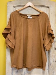 Suede Short Sleeve Top
