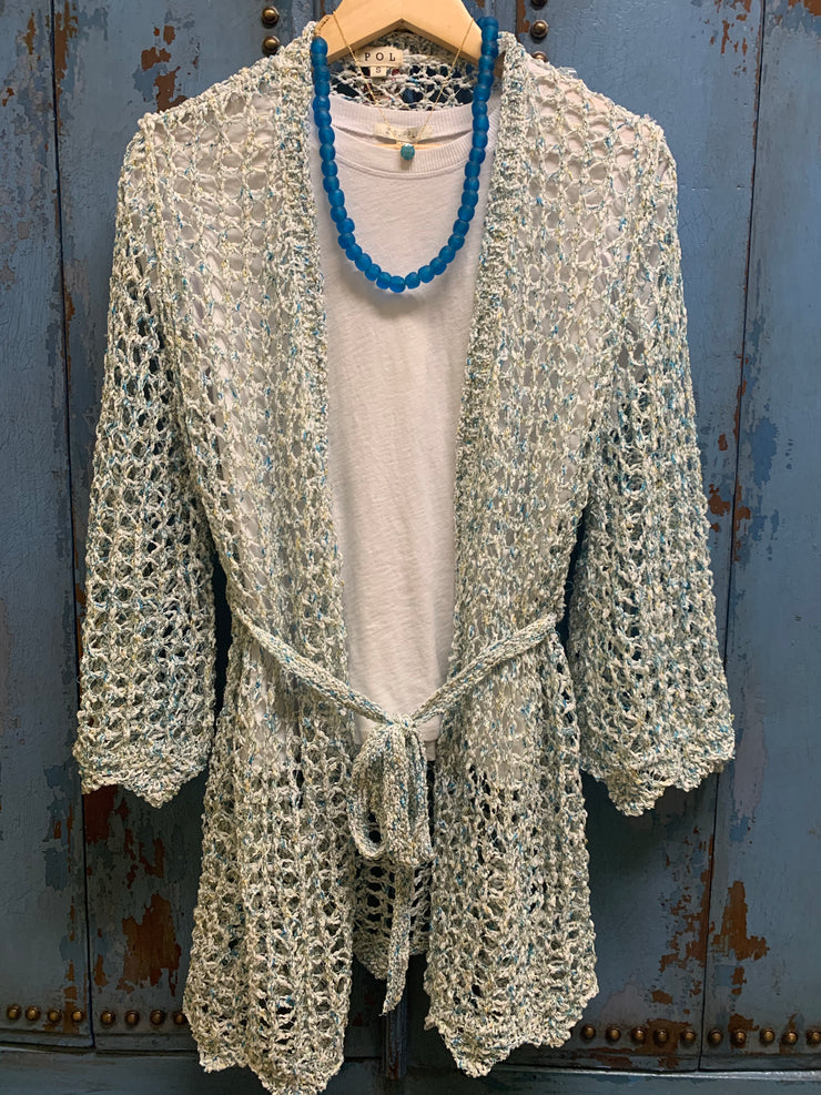 White Blue Sparkling Cardigan