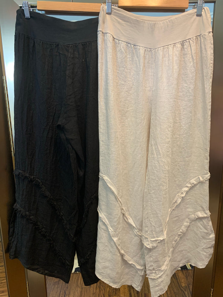 Wide Leg Linen Pants w Side Slit