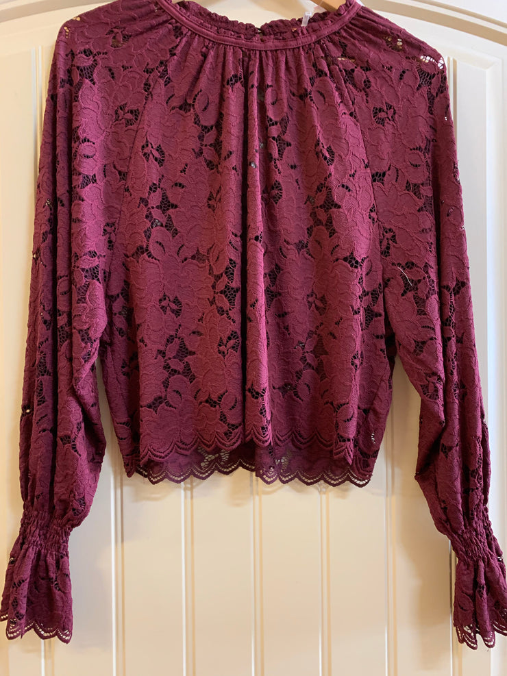 Cranberry lace Free People top
