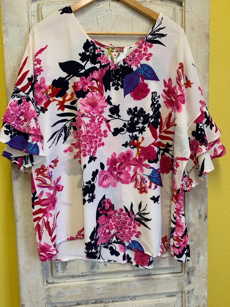 Off white mix floral print top