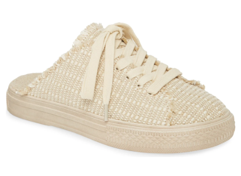 Woven Jute Canvas Slip On Sneaker Mule