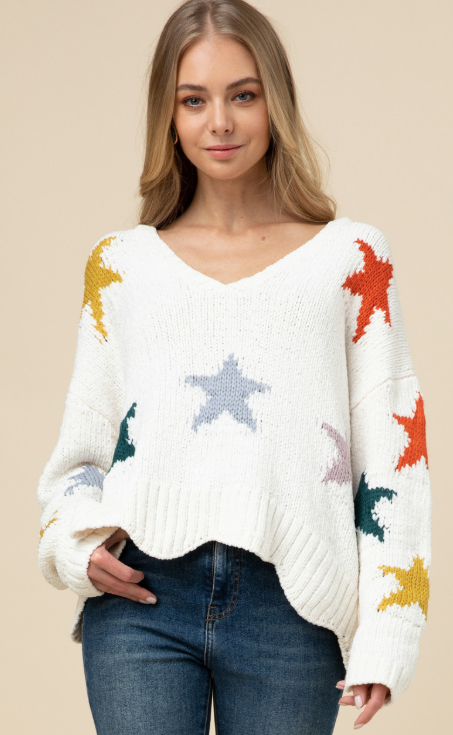 Natural Sweater w/ Multi Stars