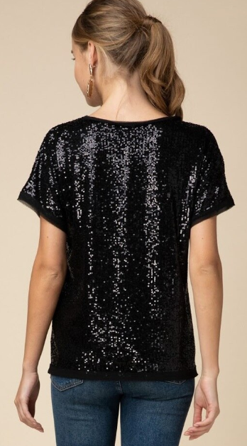 Short Slv Sequined Top
