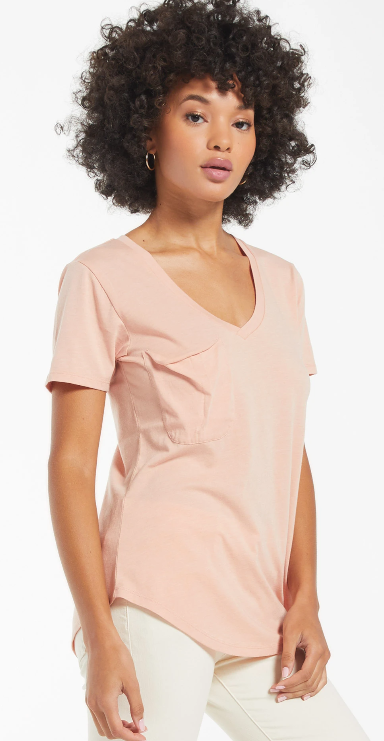 Soft Pocket Tee- Soft Peach