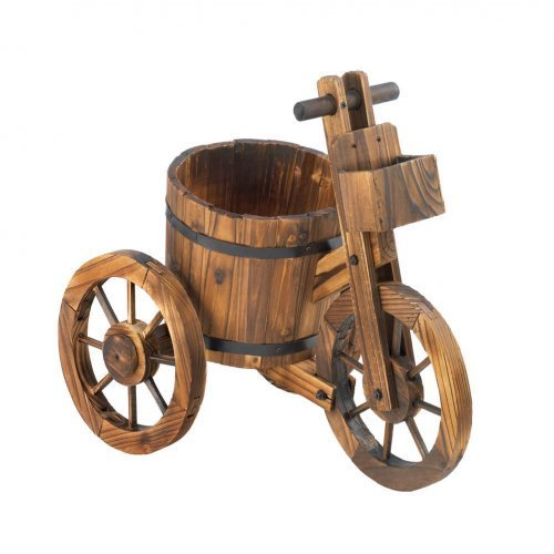 Wooden Barrel Tricycle Flower Planter