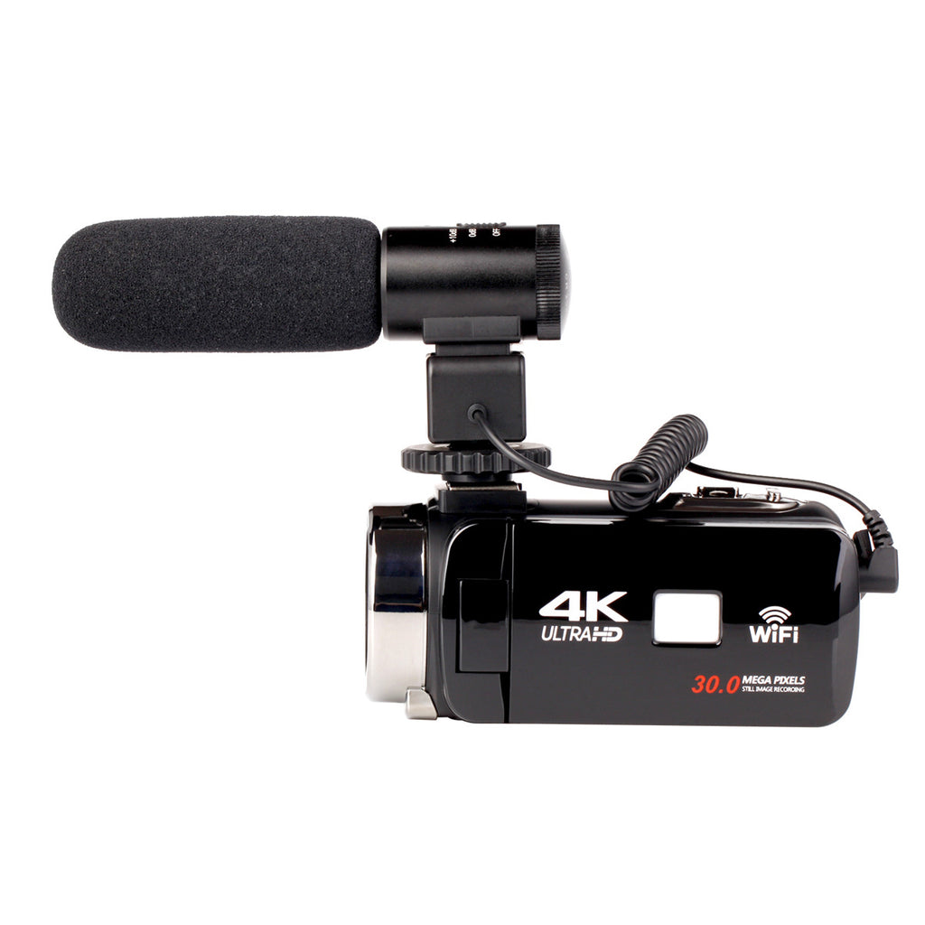 4K WiFi Digital Video Camera With Lens and Microphone