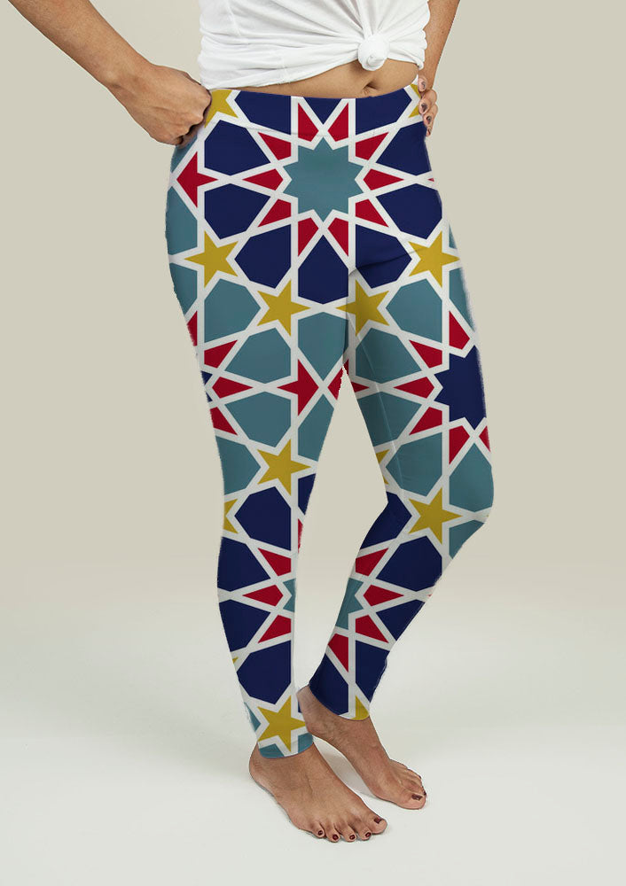 Yoga Leggings with Arabesque Pattern