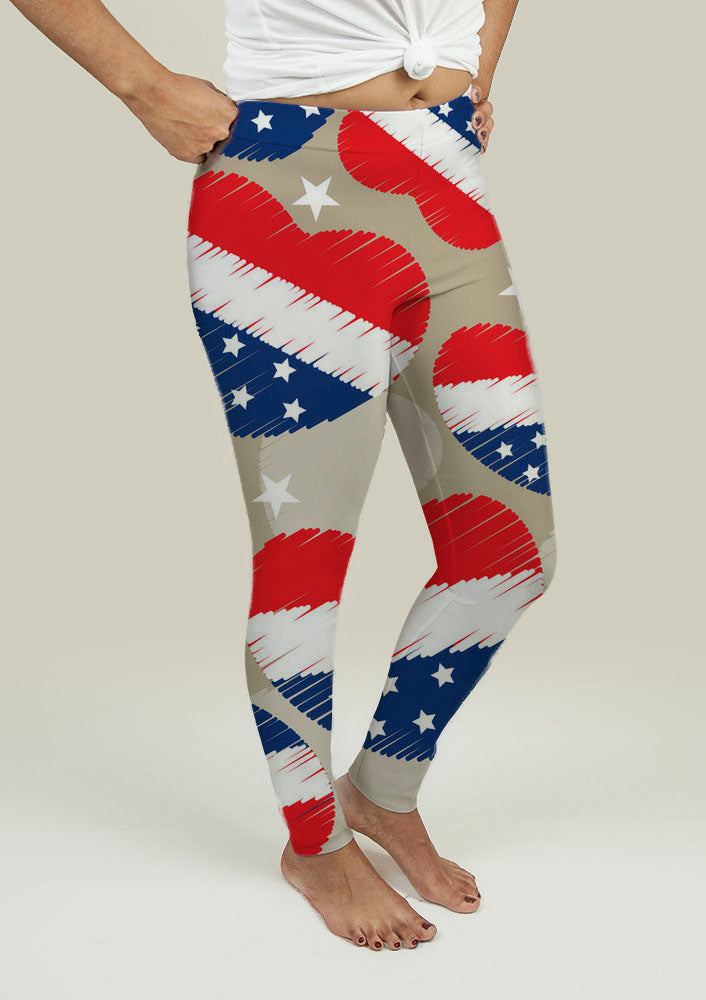 Yoga Leggings with American Independence Day Pattern