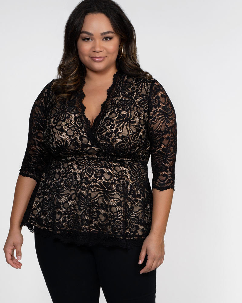 Kiyonna Womens Plus Size Linden Lace Top