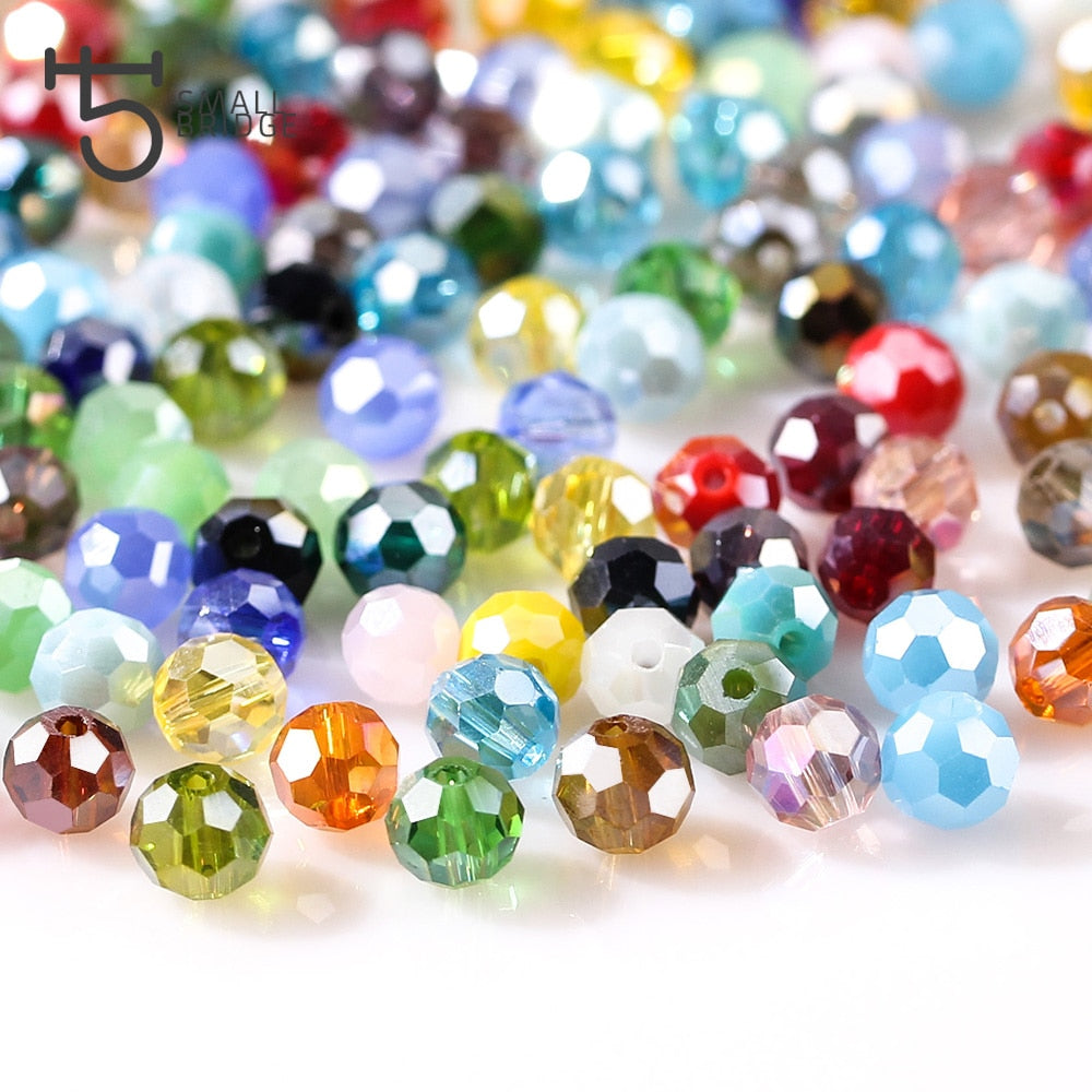 3-4-6-8 mm 195/95/70pcs Round Wholesale Bulk Mixed Lot Glass Charm Spacer Bead