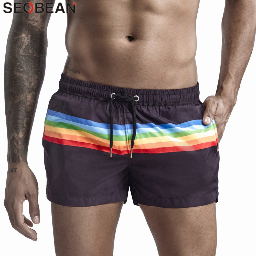 2020 New Men's Quick Dry Board Shorts 100% Polyester Summer Holiday Beach Shorts Fashion Stripes Swimi Trunks Shorts for Man