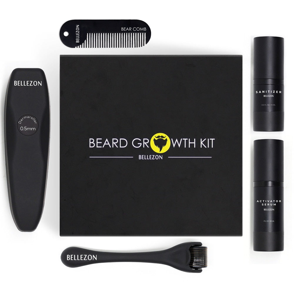 4 Pcs/set Men Beard Growth Enhancer Set Kit With Beard Oil+Comb+Balm