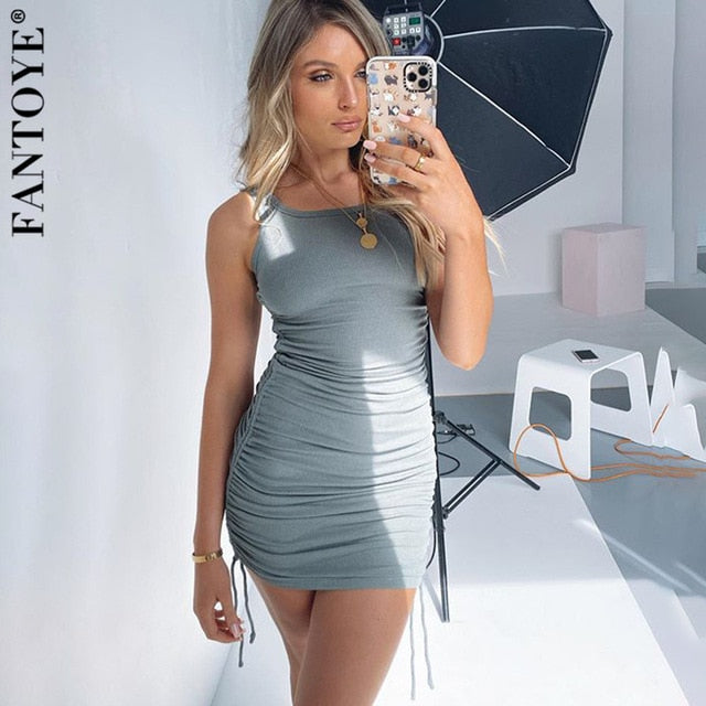 FANTOYE Drawstring Sexy Party Dress Women Sleeveless Mini Dress Vintage.