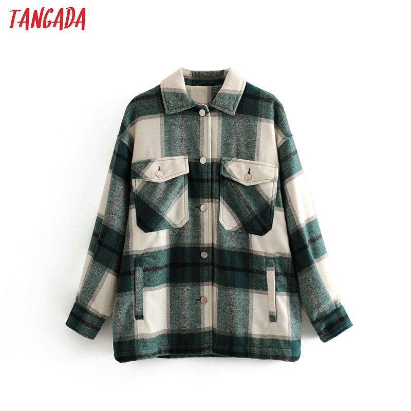 Tangada 2020 Women's Fashionable Winter Casual Plaid High Quality Long Coat Jacket