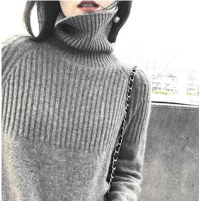 Women Solid Warm Female Cashmere Knitting Pullover Turtleneck Sweater
