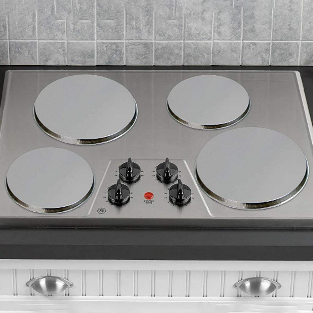 4pcs/Set Round Stainless Steel Kitchen Stove Top Burner Cooker Protection Cover